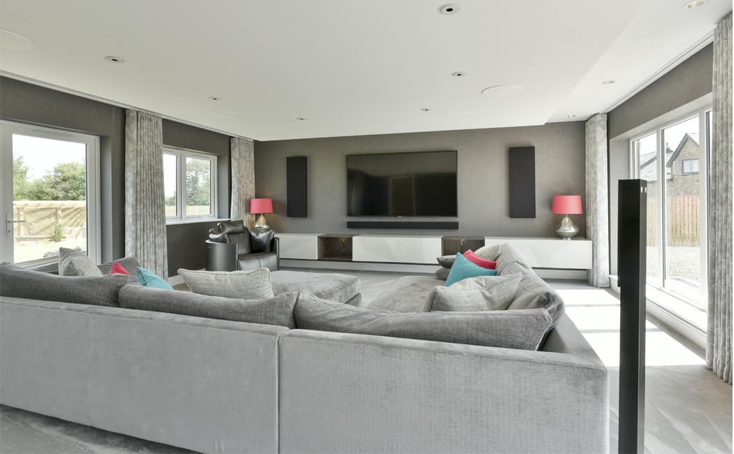 Cinema Room with Pops of Colour