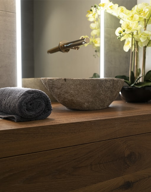 10 Walnut Vanity with Stone Basin and Special Finish Tap