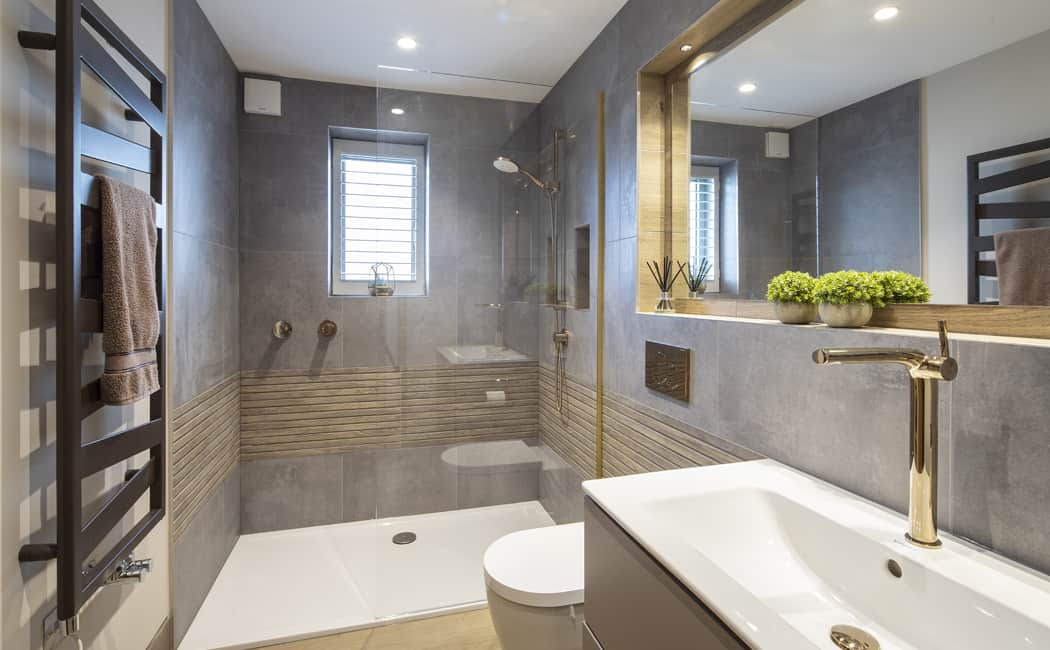 16 Bespoke Designed Ensuite with Special Finish Metals and Earthy Textural Tile